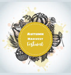 Autumn harvest festival background hand drawn vector