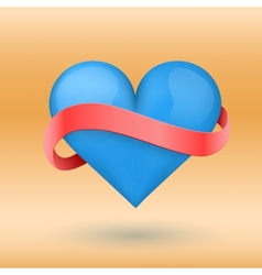 Background beautiful blue heart and ribbon vector