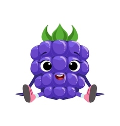 Big Eyed Cute Girly Blackberry Character Sitting vector image