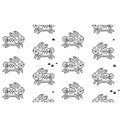 Black and white seamless pattern with rabbits vector