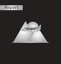 Black and white style icon airplane mountains vector