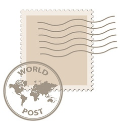 Blank post stamp with world map postmark vector