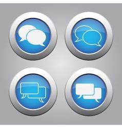 Blue chrome buttons set-white speech bubbles icons vector