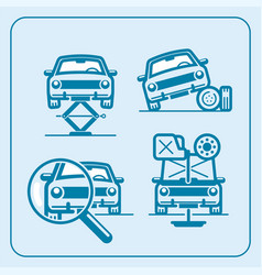 Car repair station in line icon set vector