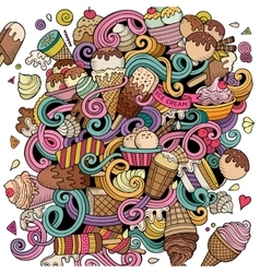 Cartoon hand-drawn doodles Ice Cream vector