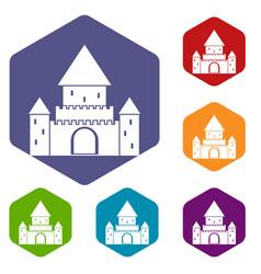 Chillon castle switzerland icons set vector
