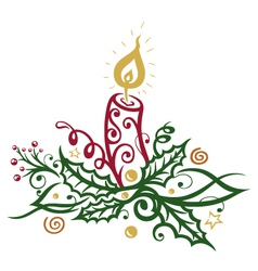 Christmas candle holly vector