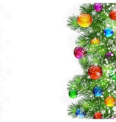 Christmas decorated branches background vector image