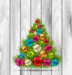 Christmas Tree and Colorful Balls on Wooden vector image