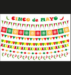 Cinco de mayo celebration set of colored flags vector