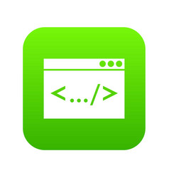 code window icon digital green vector image