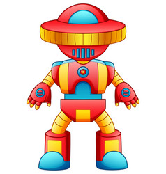 colorful toy robot cartoon isolated on white backg vector image