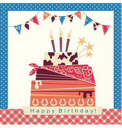 Cowboy party card with happy birthday big cake vector