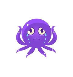Crying Funny Octopus Emoji vector image