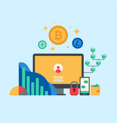 cryptocurrency and blockchain concept vector image