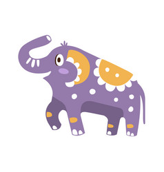 Cute cartoon elephant character posing vector