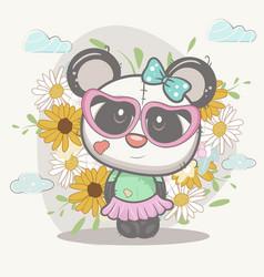 cute girl panda with flowers vector image