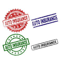 damaged textured auto insurance seal stamps vector image