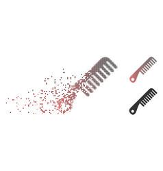 Decomposed pixel halftone comb icon vector