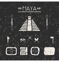 Design elements mystical signs and symbols Maya vector image