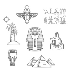 Egypt travel and ancient sketch icons vector