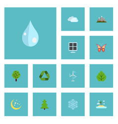 flat icons conservation winter snow tree and vector image