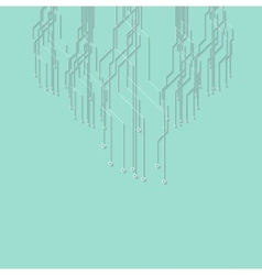 Flat minimal cyan circuit board tech background vector image