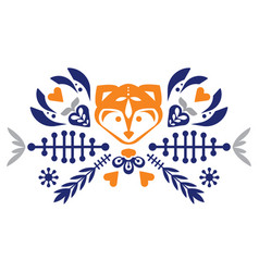 Folk cute folk pattern with fox and flowers vector