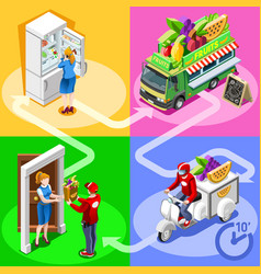 Food truck fruit cart home delivery isometric vector