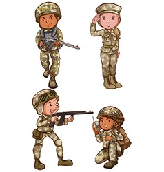 Four brave soldiers vector