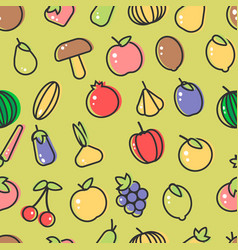 fruit and berry mushrooms and vegetables seamless vector image