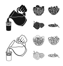 Fruit vegetable salad and other types of food vector