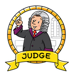 Funny judge understand thumbs up emblem vector