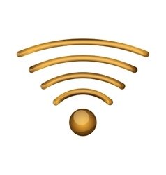 Gold wireless icon vector