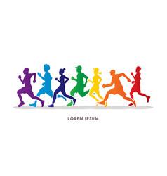 Group of people running marathon vector