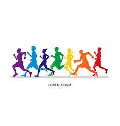 Group people running marathon vector