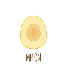 Half of melon Icon in flat style vector