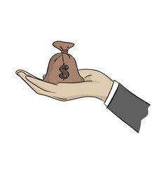 hand of businessman holding money bag vector image
