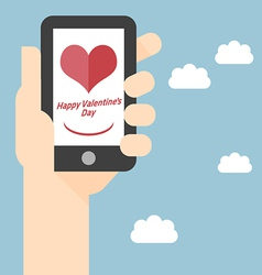 Happy Valentines Day on Mobile vector image