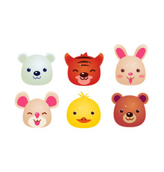 Heads of cute animals set bear face of bear vector