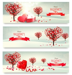 Holiday retro banners Valentine trees with vector image