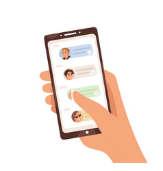 human hand holding smartphone with dialogue app on vector image