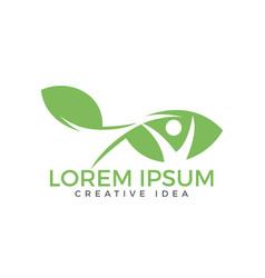 human leaf logo design vector image