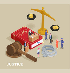 Justice isometric law concept vector