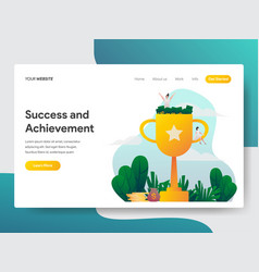 landing page template success and achievement vector image