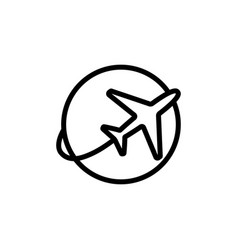 line plane shipping icon on white background vector image