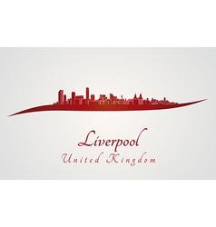 Liverpool skyline in red vector