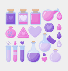 Love potion flat icon set vector