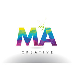 ma m a colorful letter origami triangles design vector image