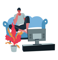 male character spending time watching tv shows at vector image